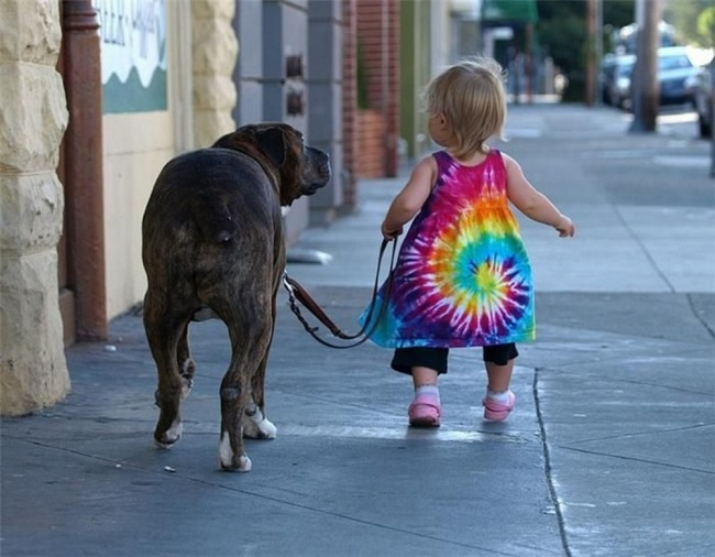 Girl walking dog
