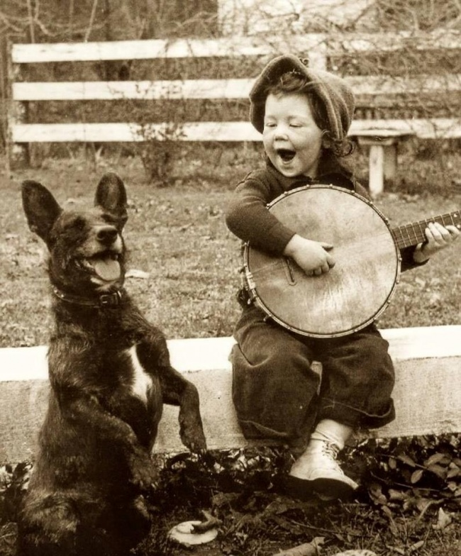 Dog and boy playing music