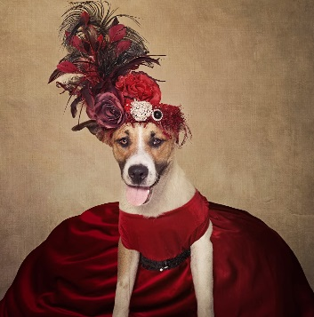 Dog in Parisian Outfit