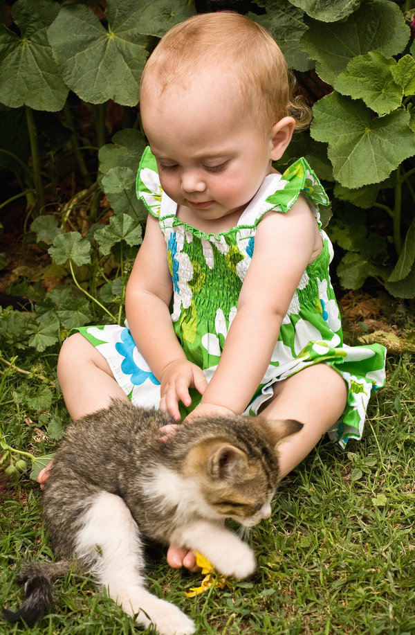 One yearr old baby girl sitting on grass touching kitten