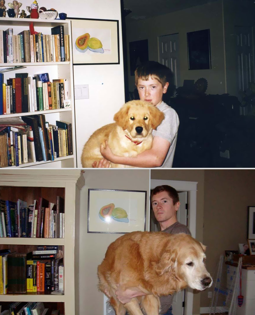 10 years apart dog and owner with wall painting
