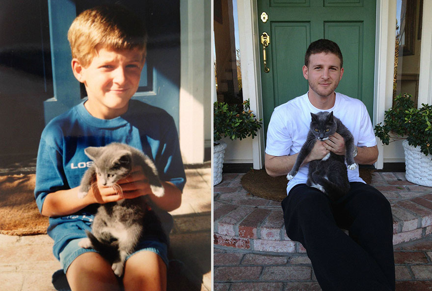 17 years apart gray cat and owner